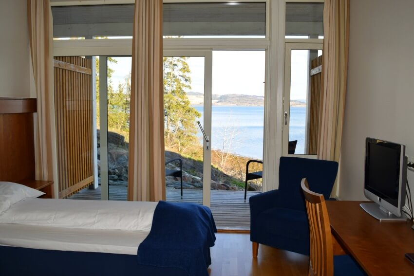 Der Goldene Umweg in Norwegen Jegdvolden Fjordhotel Ausblick vom Zimmer