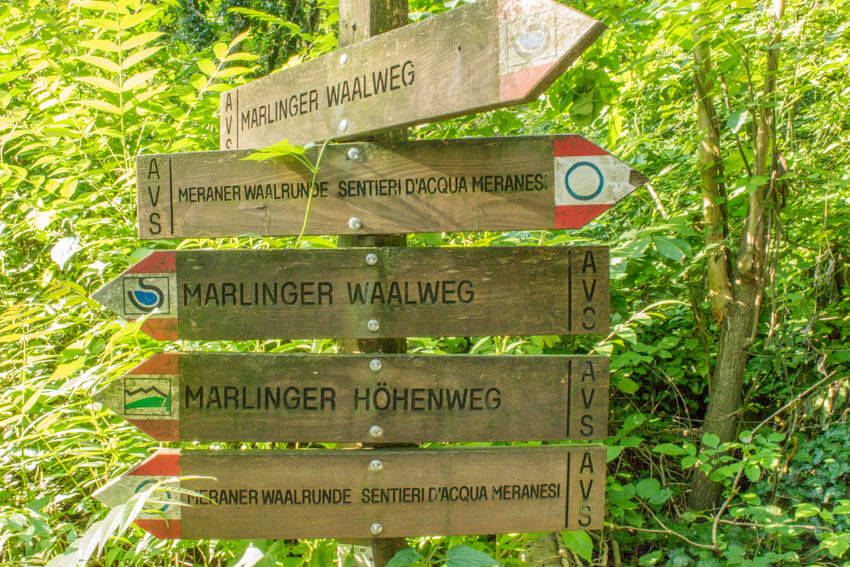 Marlinger Waalweg Schilder